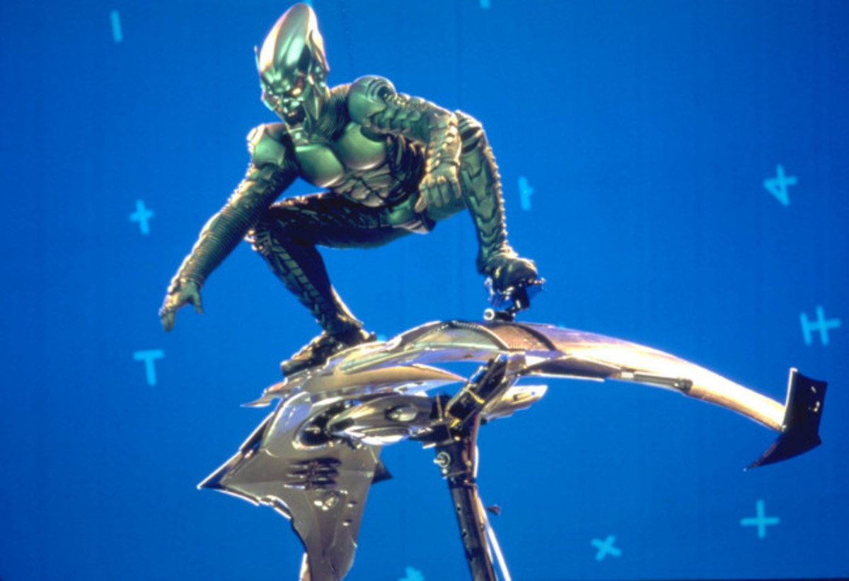 Green Goblin scenes being shot against a blue background