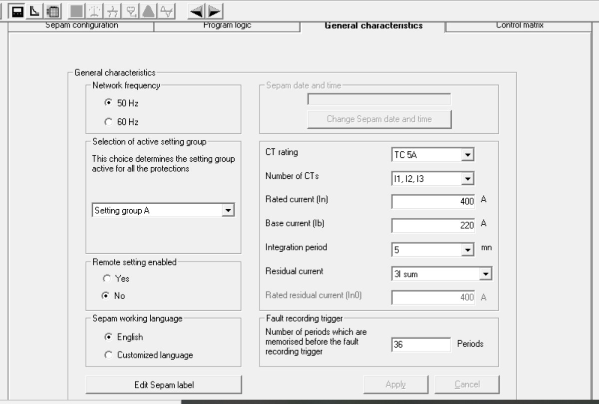 General characteristics screen.