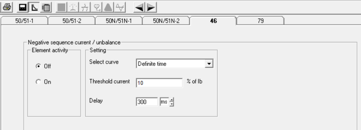 Negative sequence/Phase unbalance fault configuration screen.