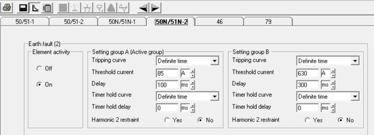Earth short-circuit fault configuration screen.