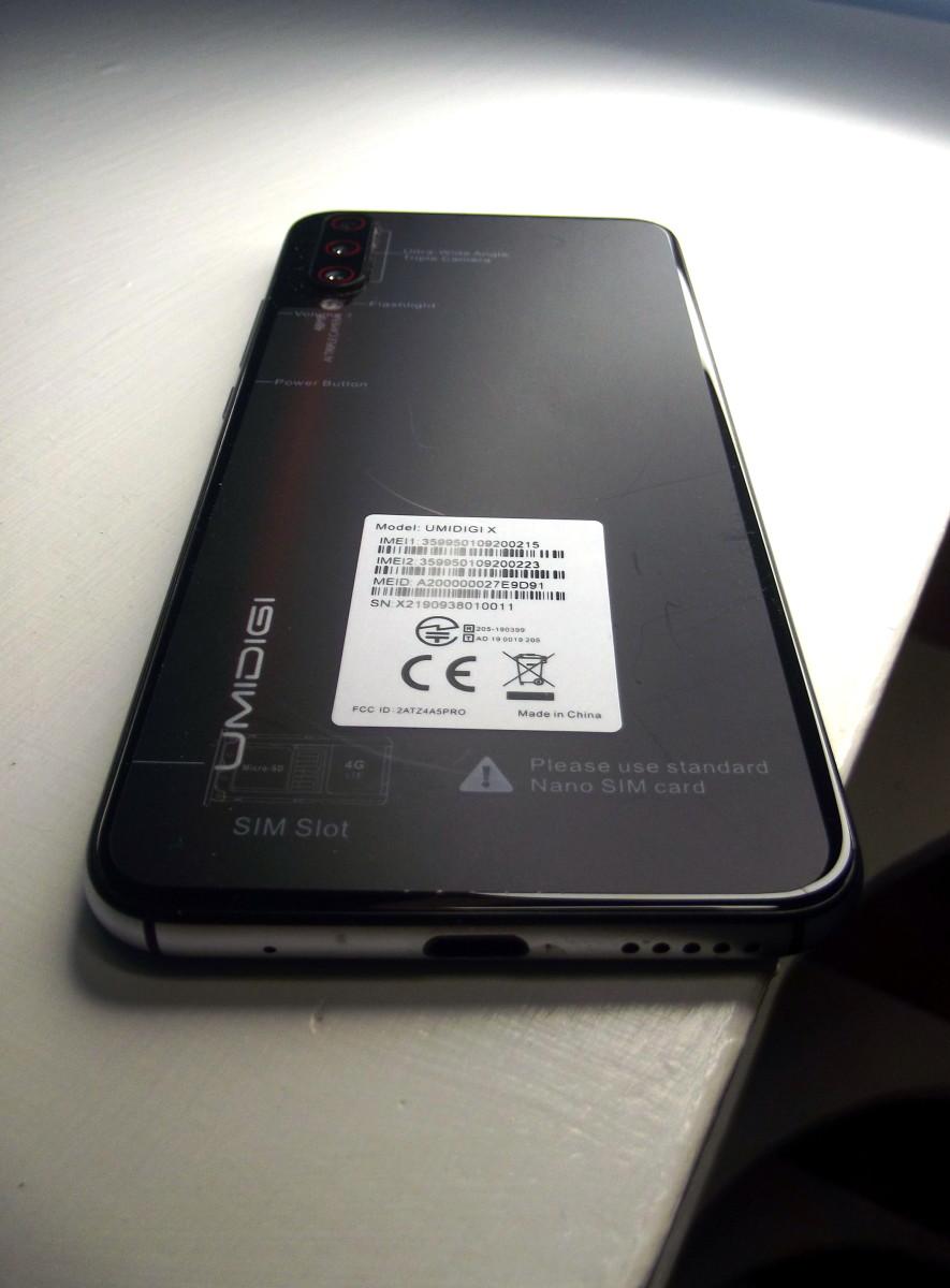 Back of Umidigi X Smartphone