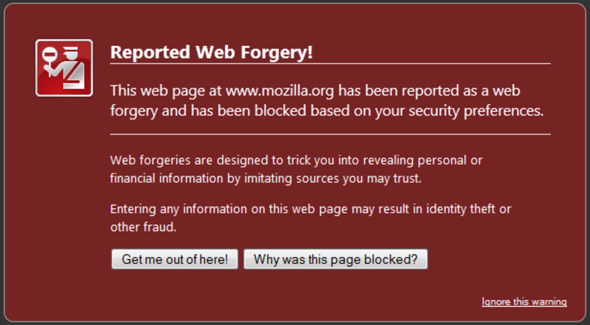 A browser warning of a malicious website