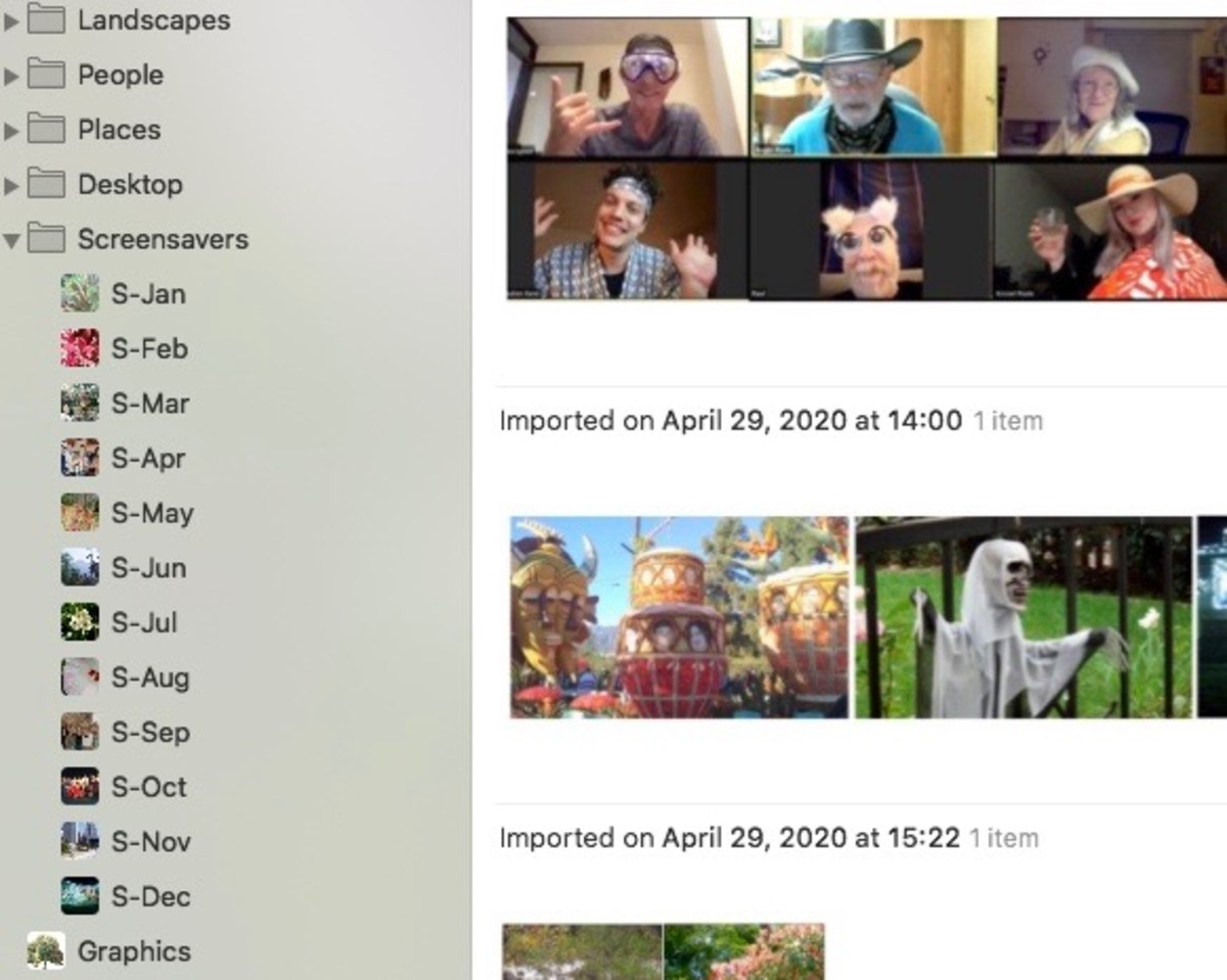 My desktop folder is set up the same way as the screensaver one. While the screen saver photos rotate continuously, the desktop photo changes once a day at midnight. I have a whole collection of photos for each.