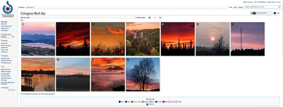 Screenshot of free-to-use. quality pictures of a red sky on Wikimedia Commons.