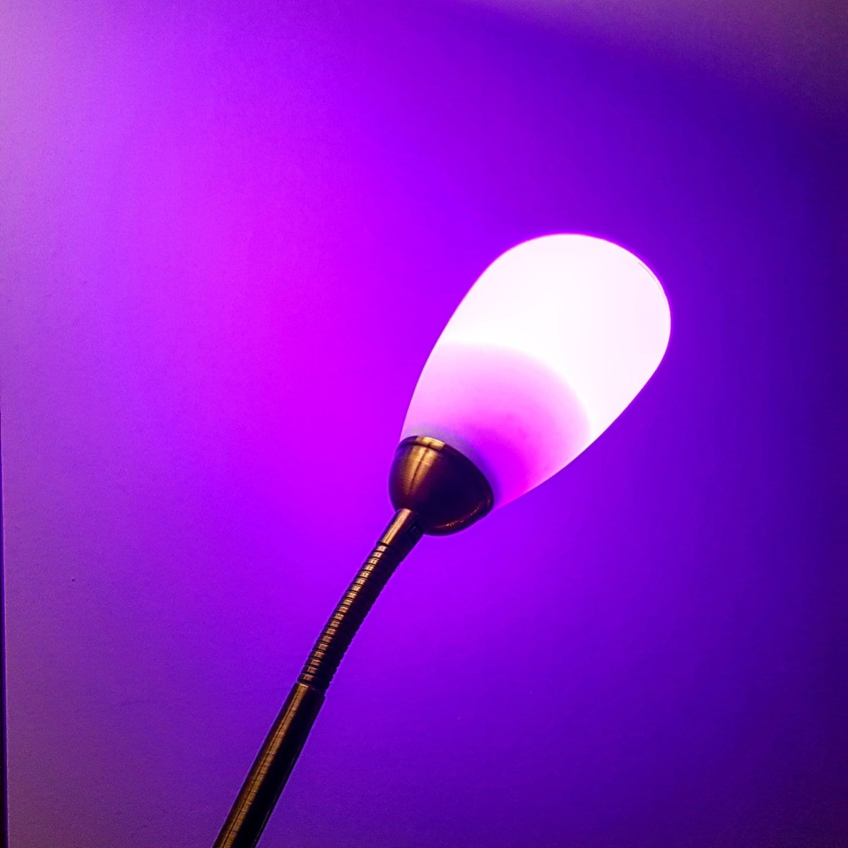 The LOHAS LED E14 Smart Candle Colour Changing Light Bulb in the living room, set to purple.