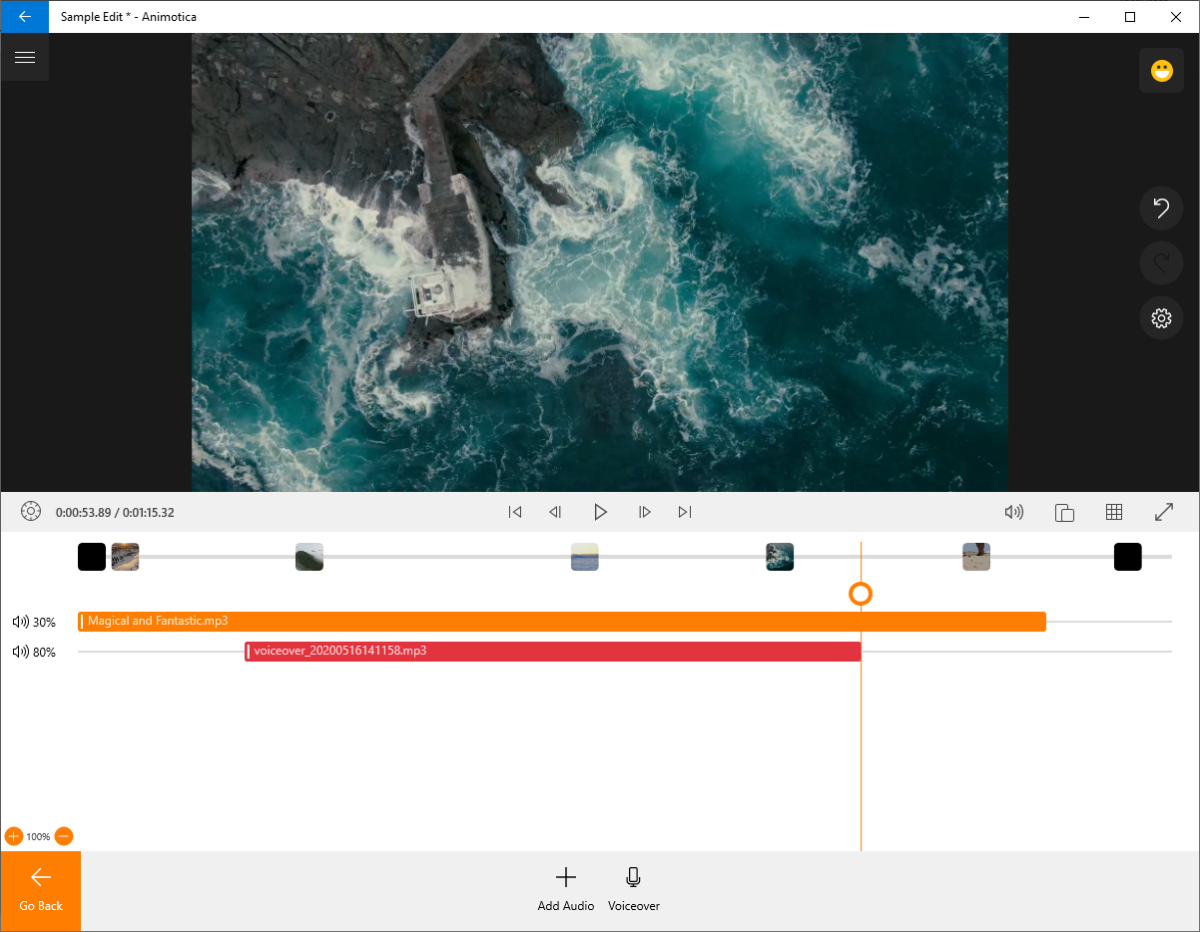 Animotica supports multiple audio tracks for music and voiceovers