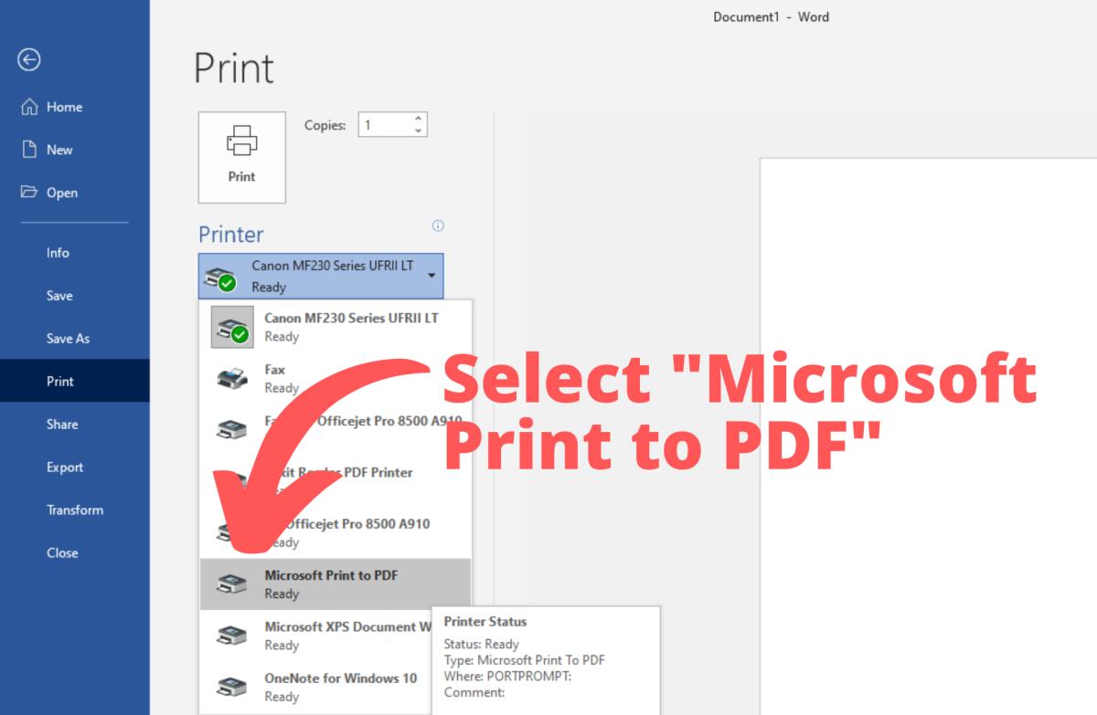 """Select """"Microsoft Print to PDF"""""""