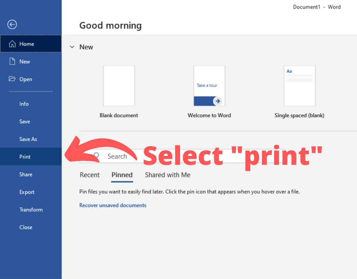 """Select """"Print"""""""