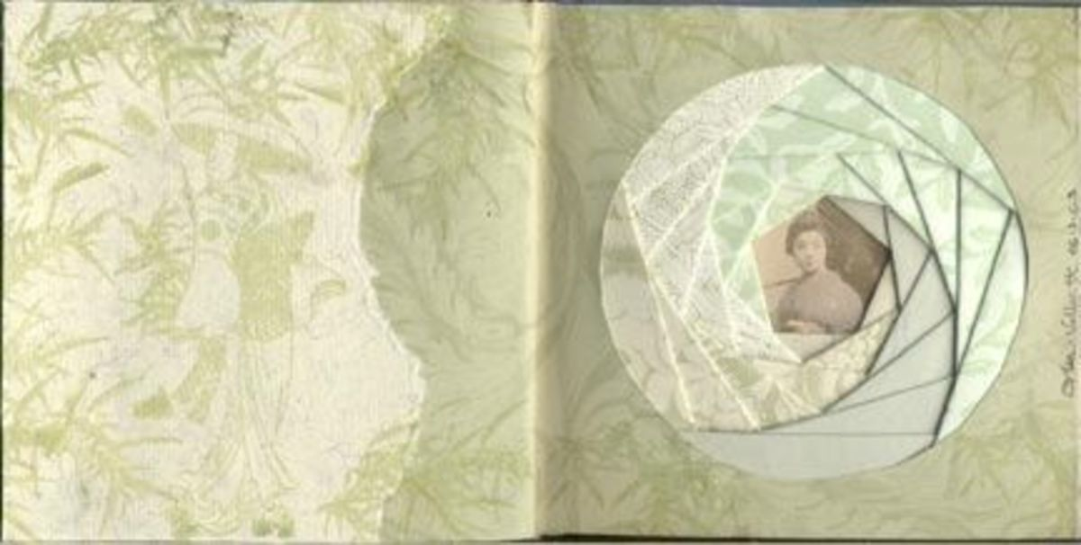 Iris folding in an altered book, by Lisa Vollrath.