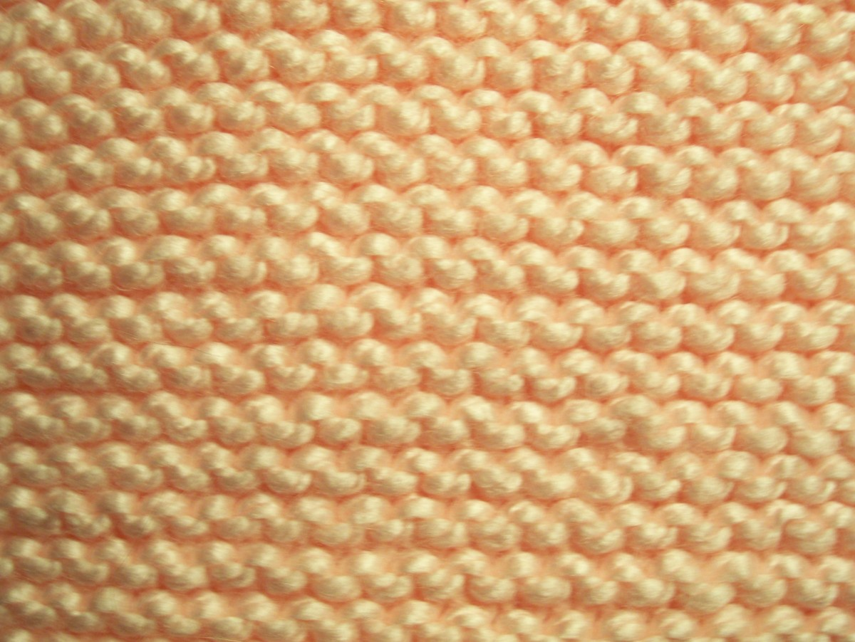 The pattern that forms when you knit every row is called the garter stitch. It looks the same on both sides.