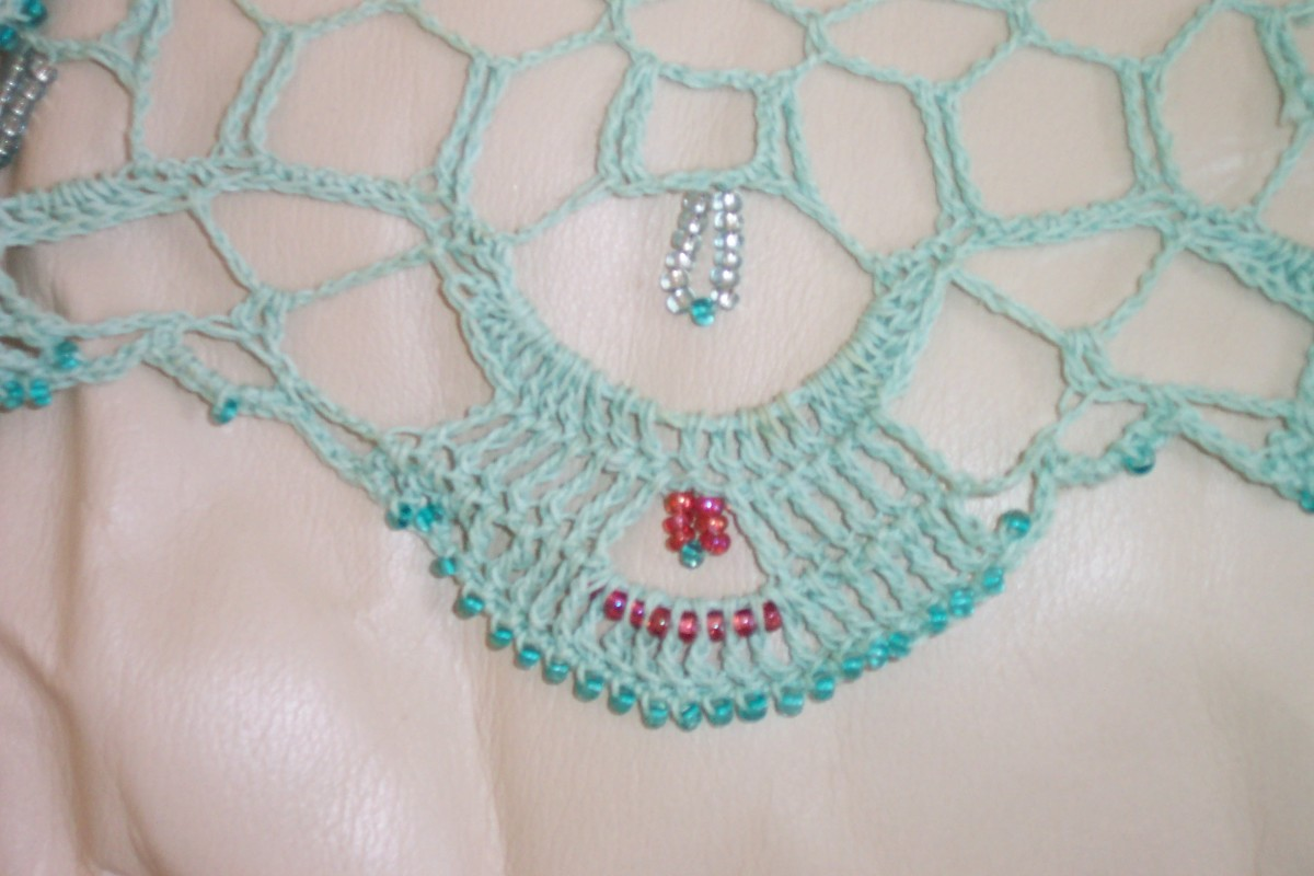 Image: Beaded Crochet Large Doily or Table Centerpiece