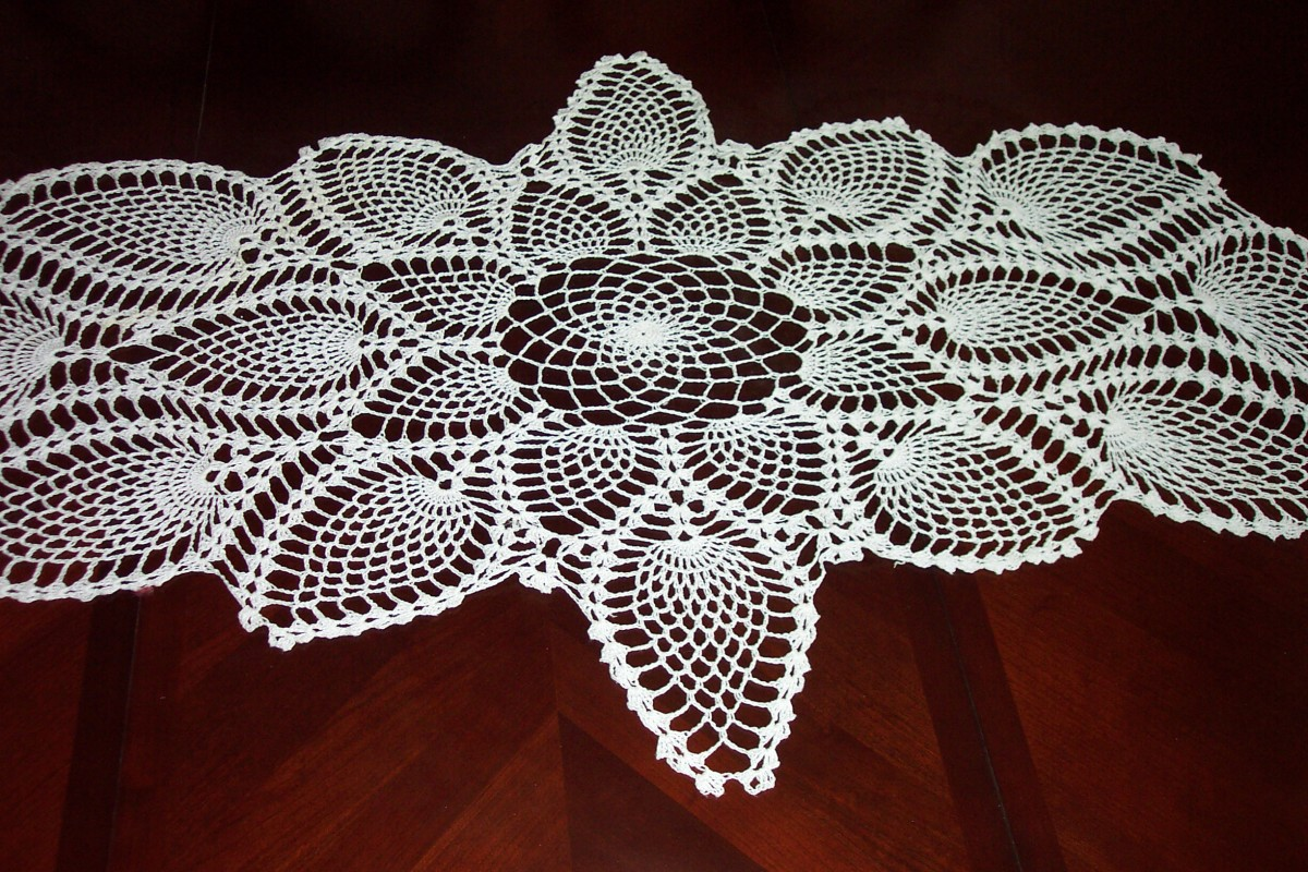 Image: Crocheted Table Runner--this centerpiece lives on my dining room table.