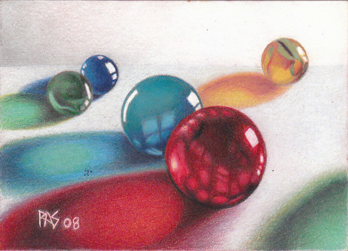 """My Marbles, inspired by Arlene Steinberg's book """"Masterful Color"""" and its techniques, using a photo reference in the book. Robert A. Sloan"""