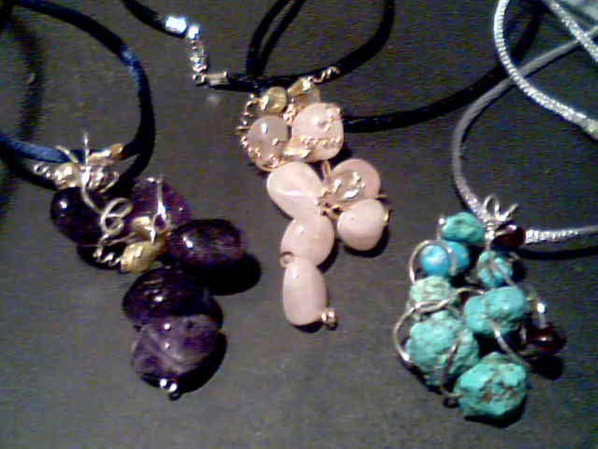 amethyst, rose quartz, and turquoise drop pendants with freshwater pearl and garnet accents in sterling silver and 14k r.gold