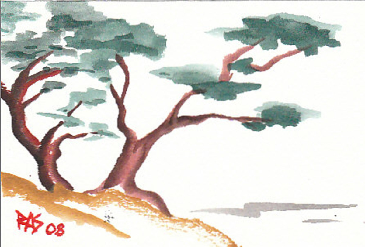 "Two Trees, watercolor, 4"" x 6"" by Robert A. Sloan"