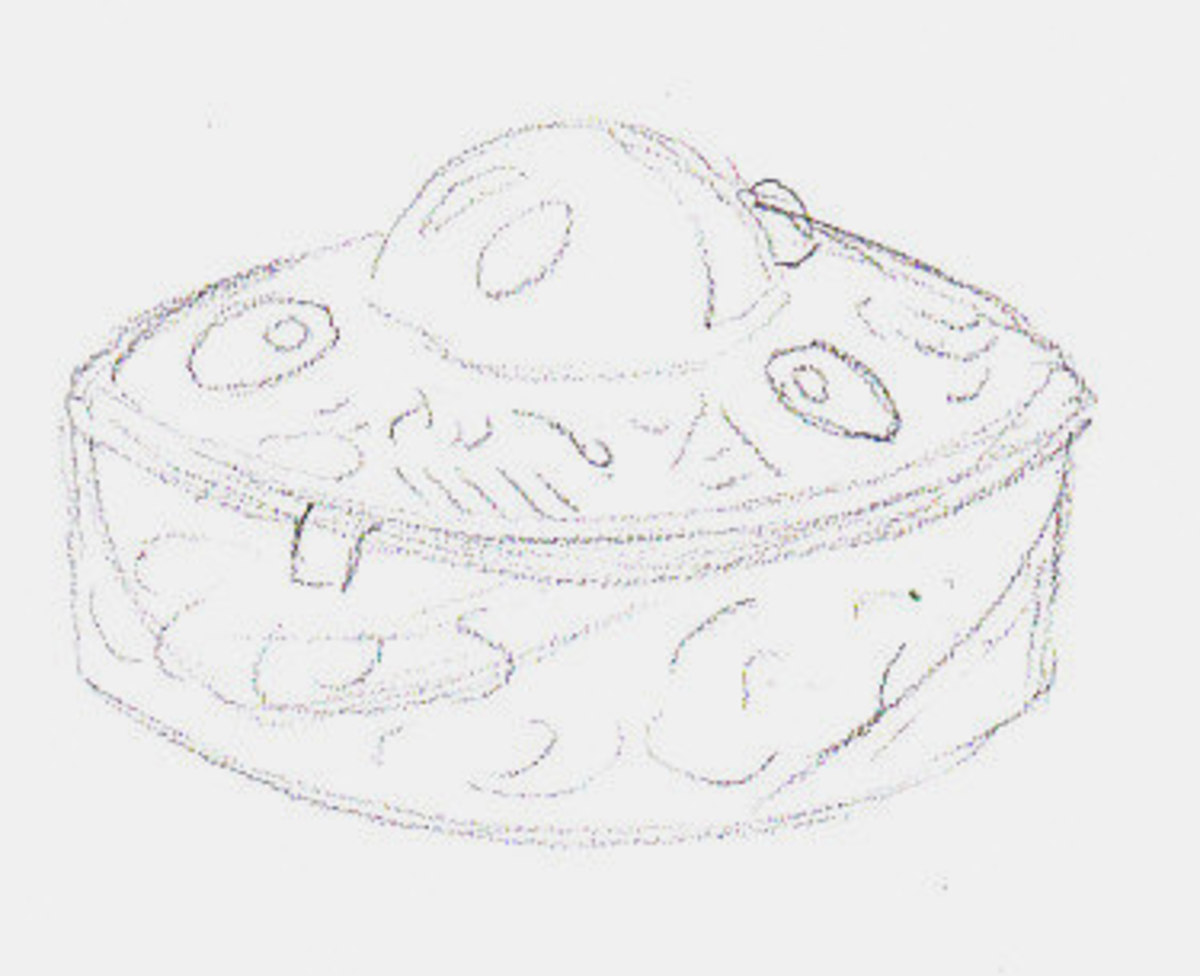 Pencil sketch for crosshatched and hatched drawing of my pillbox. Robert A. Sloan.
