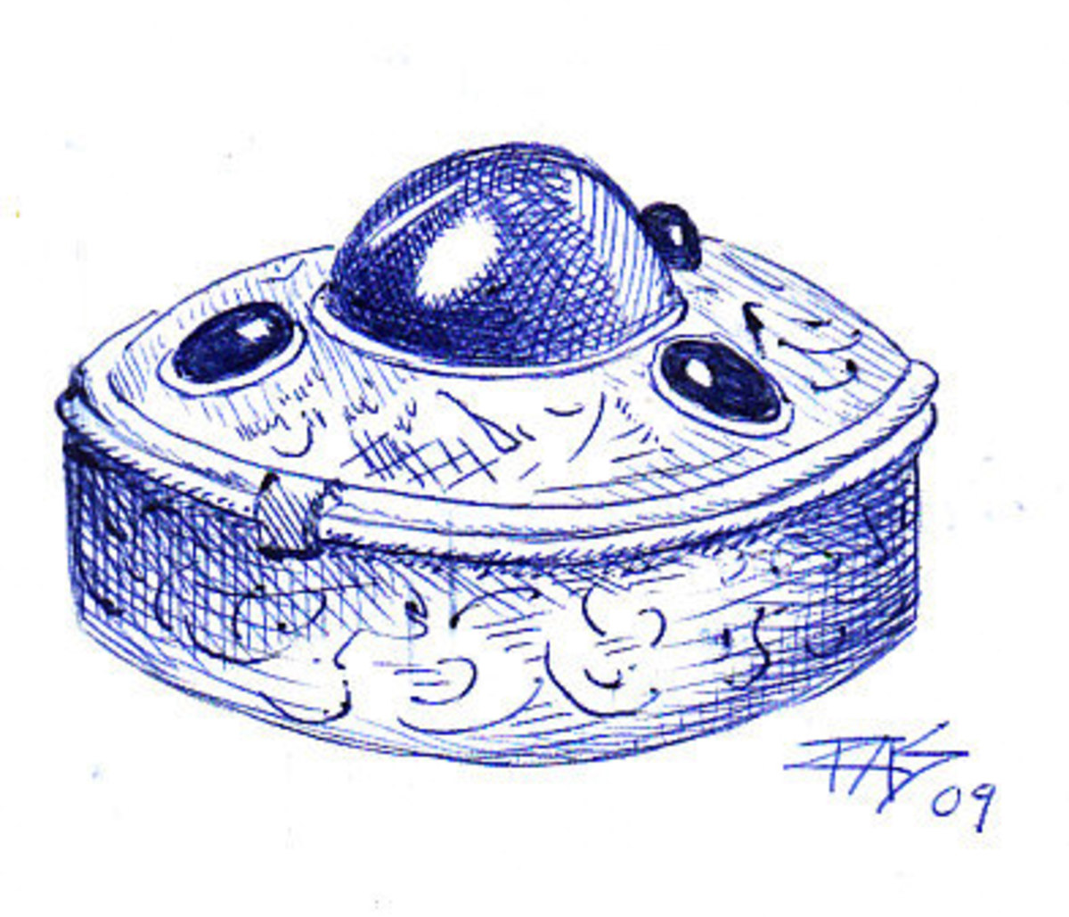 Pillbox Drawing in ballpoint pen on sketchbook paper by Robert A. Sloan