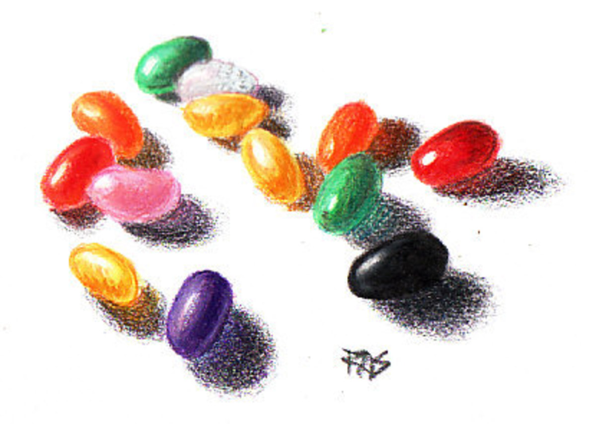 Jelly Beans from a Reference Image Library photo by Olika on WetCanvas.com drawn in Koh-I-Noor Progresso colored pencils by Robert A. Sloan. Look at the reflected color in the shadows of these bright objects. Clear or translucent rocks will show refl