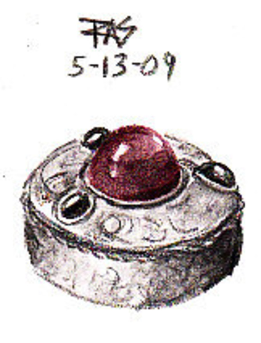 Silver pillbox with red glass gem in Derwent Graphitint tinted graphite pencils by Robert A. Sloan