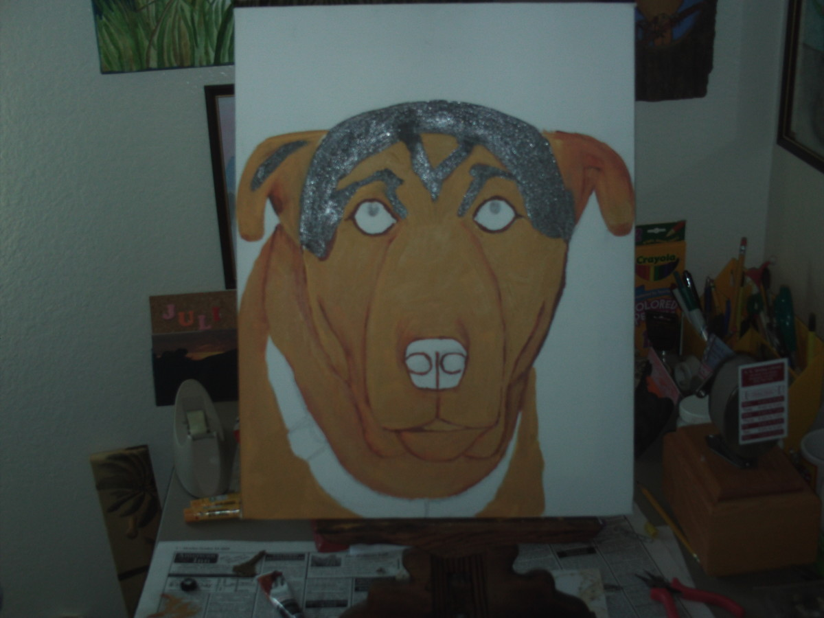 Gray tones of paint are used here to achieve the dark portions on Buster's cranium and ears.