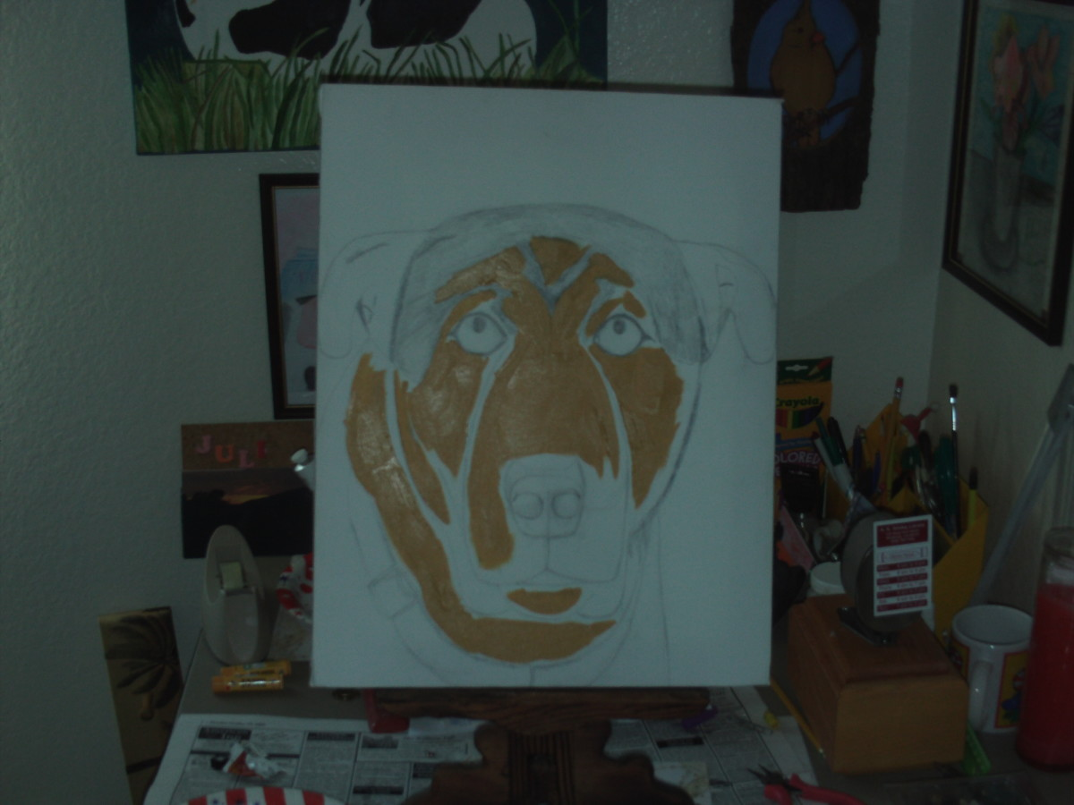 Here I begin to add the lighter portions to Buster's face.