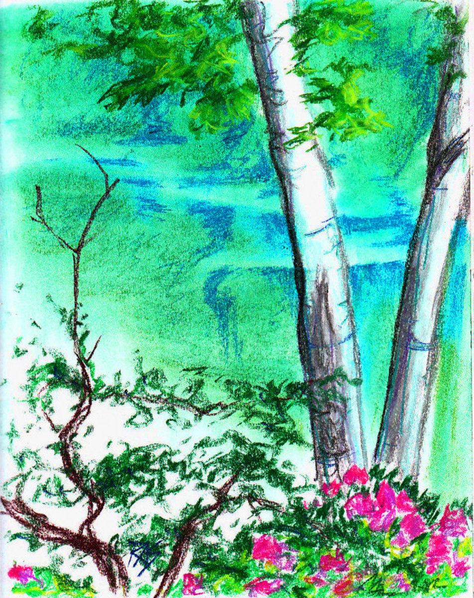 """Flowers by Water, 8 1/2"""" x 11"""" in Color Conte sticks on white wirebound ProArt sketchbook paper by Robert A. Sloan."""