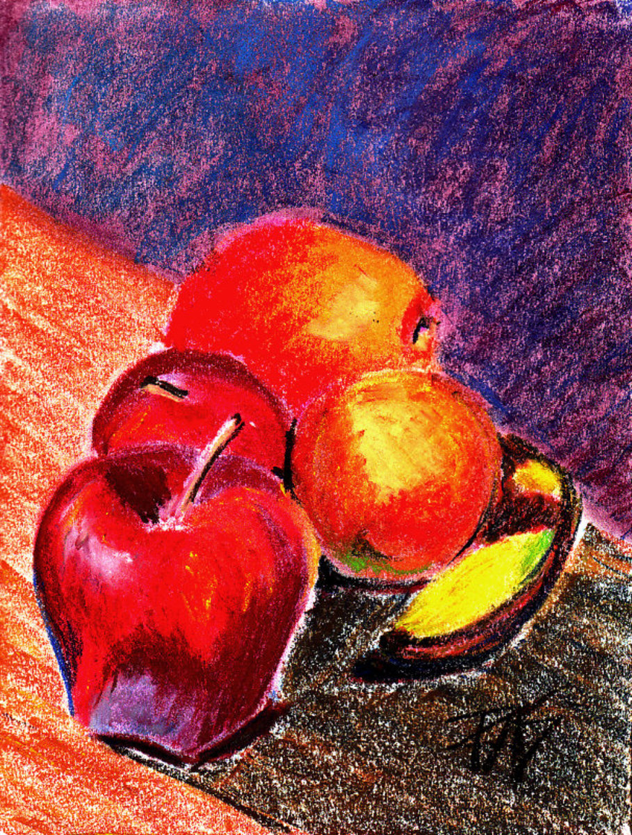 "Apples, Oranges and Banana, still life in Richeson pastels, Art Spectrum and Sennelier on white sketchbook paper by Robert A. Sloan. 8 1/2"" x 11"""