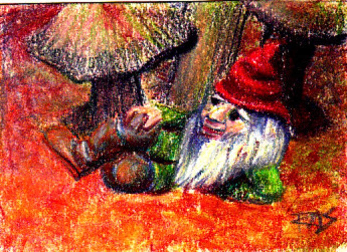 Garden Gnome ATC in Cretacolor pastel pencils and Richeson hard pastels on cream Stonehenge paper by Robert A. Sloan