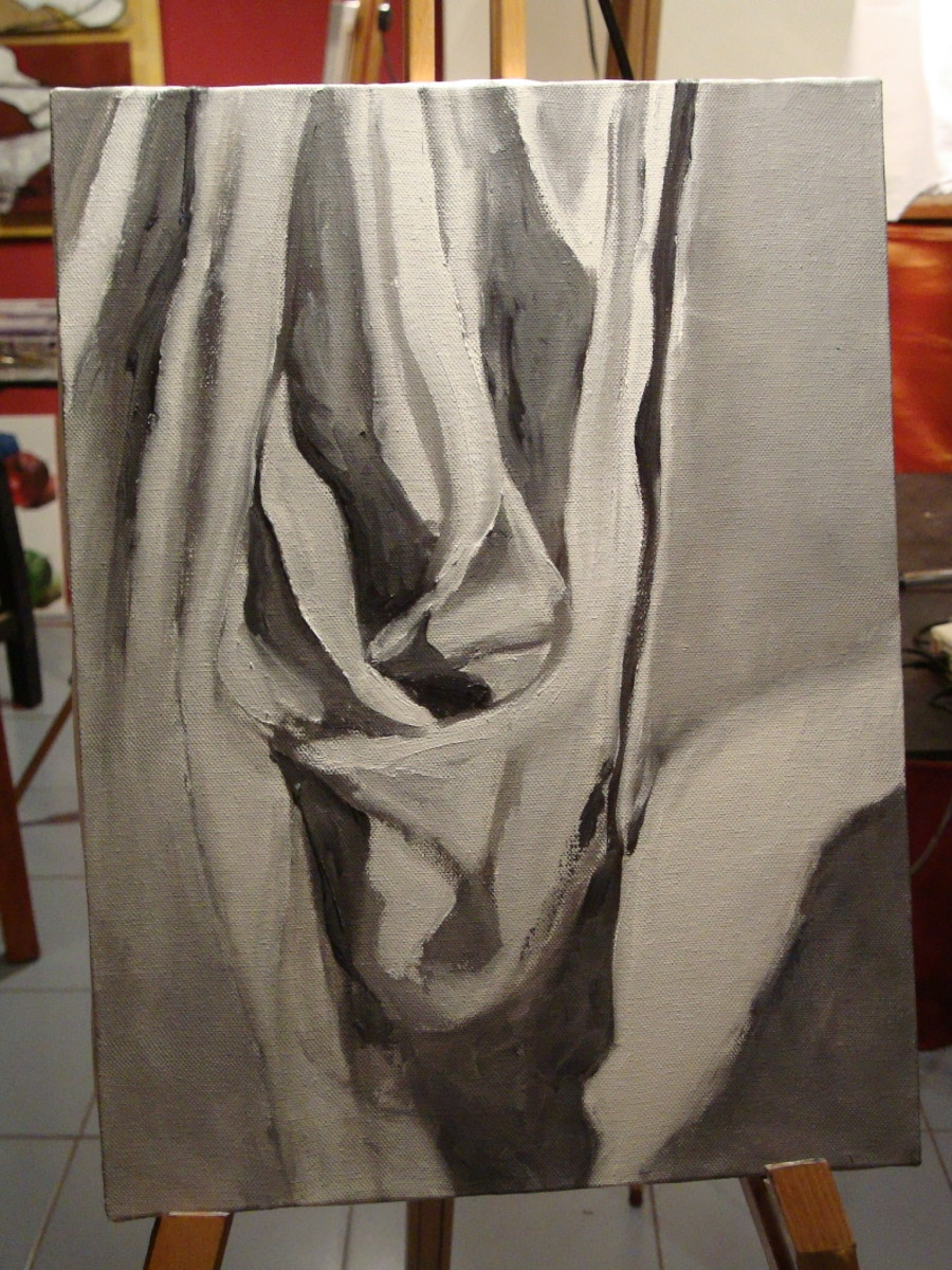 Student's Grayscale Painting Complete