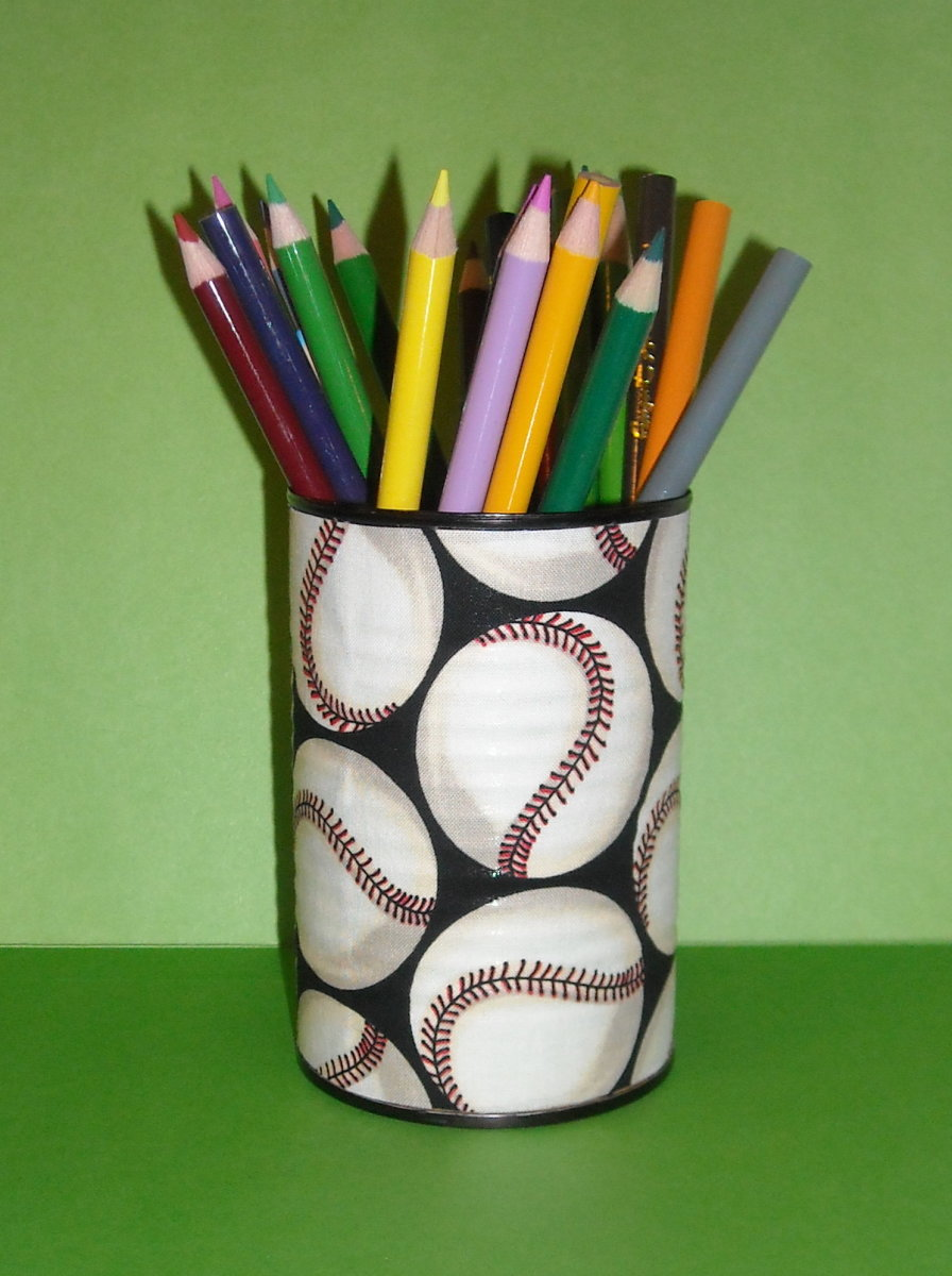 Tin Can covered in baseball fabric