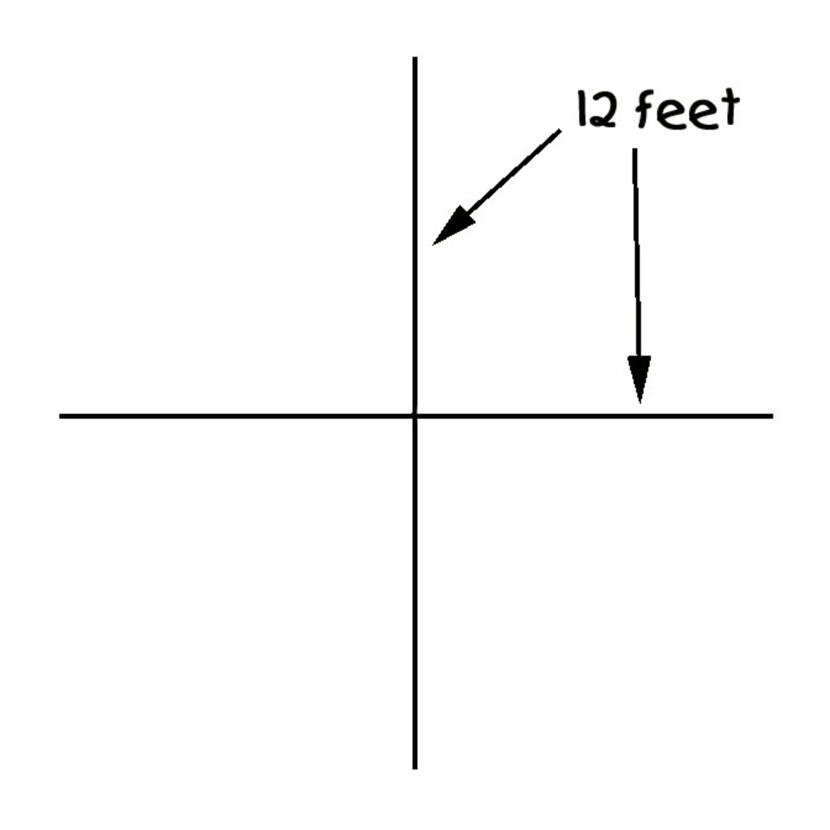 Draw two 12 foot legs