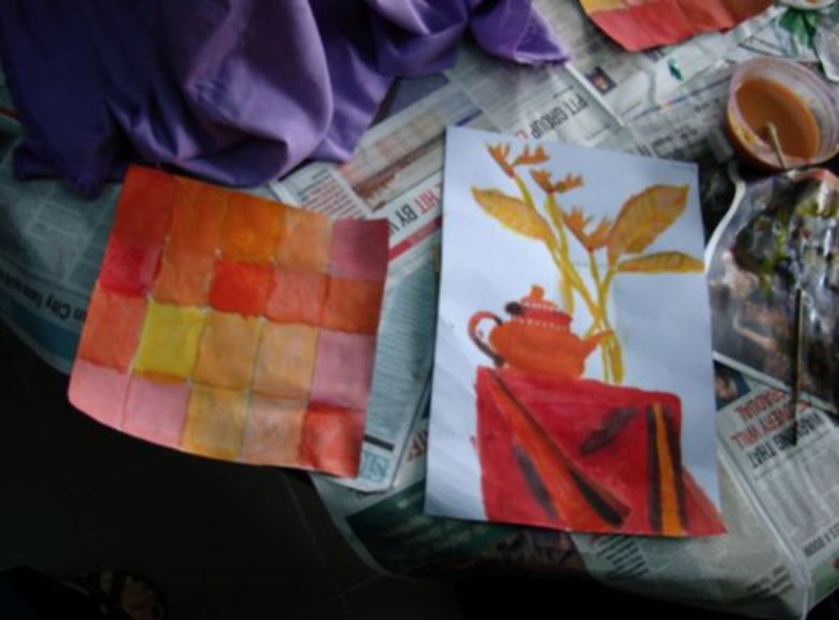 Creating shades of orange and utilizing the finished work for a still life in the same color family