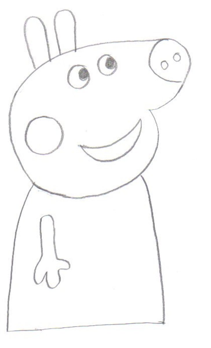 Draw in the arm at the side of Peppa Pig.