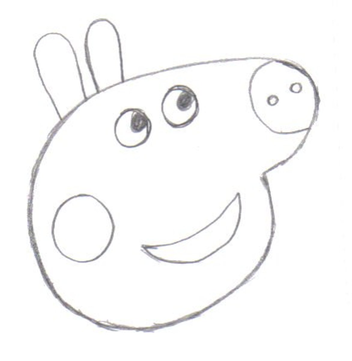 Draw in Peppas nose and mouth.