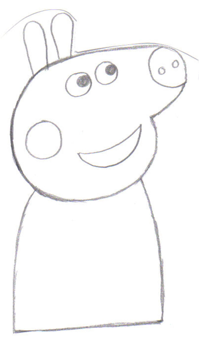 Draw Peppa's body.