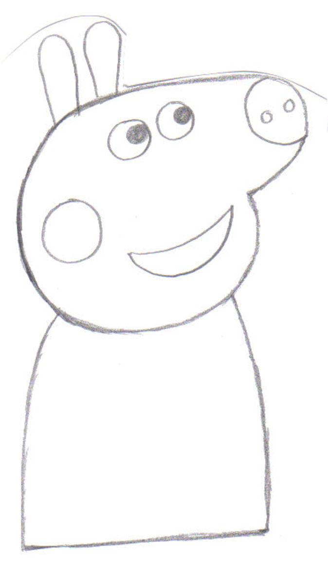 Draw in Peppas body. (dress)