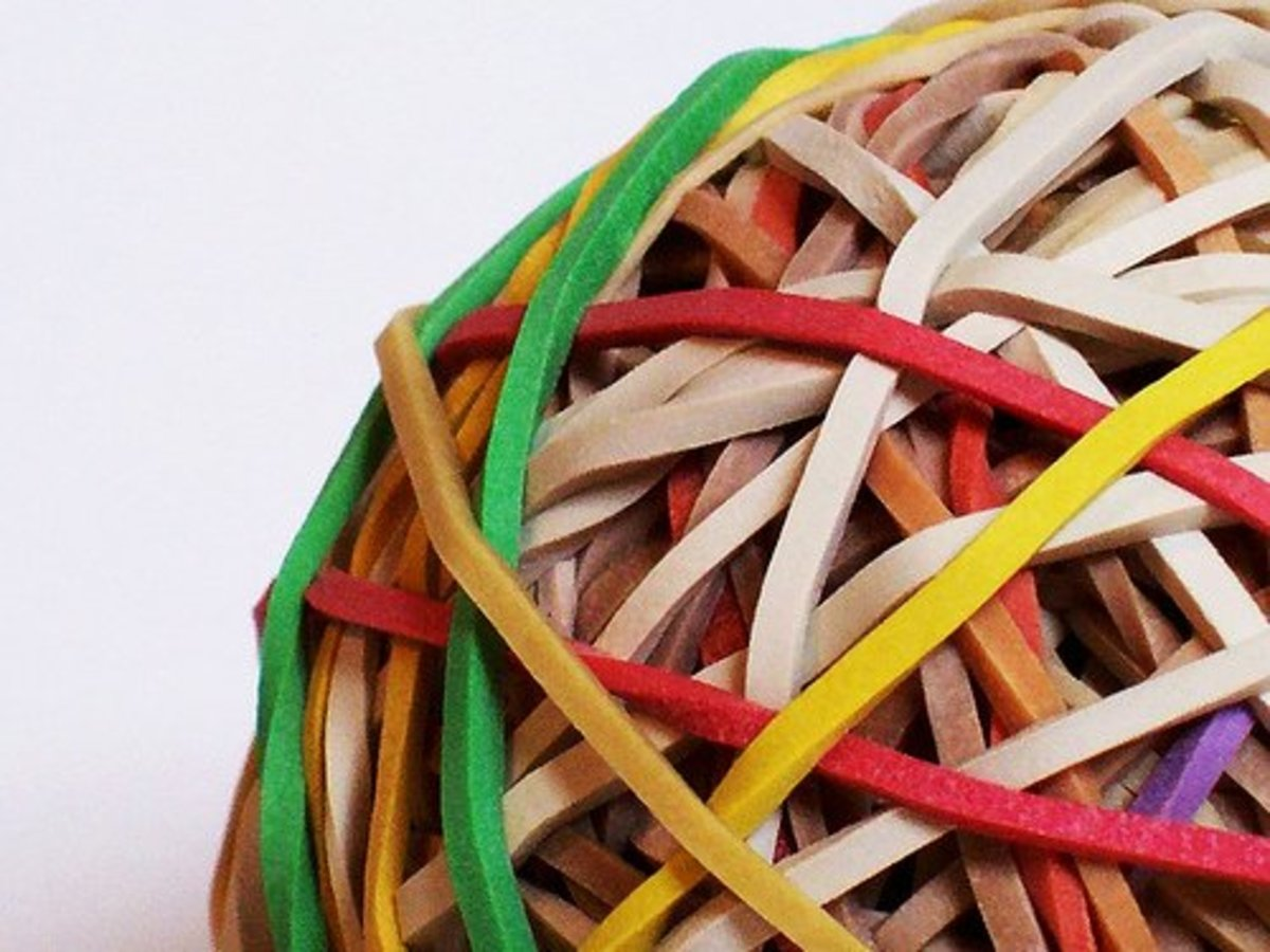 Rubber bands in a ball illustrated the elastomeric properties of manufactured latex.