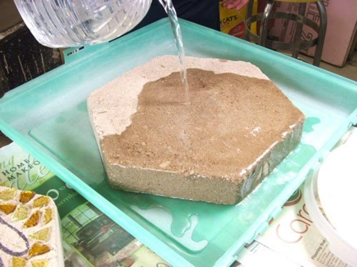 Step 3.  Soak the pre-made stepping stone in a water bath making sure both sides are thoroughly wet.  This will help prevent the stone from soaking the moisture out of the mortar too quickly, which could cause cracking.