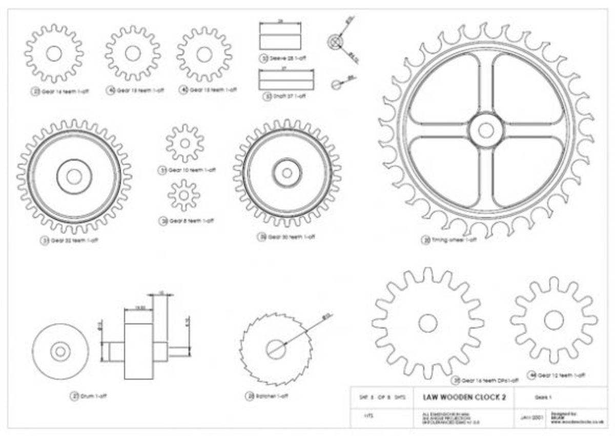 Wooden Gear Clock Patterns