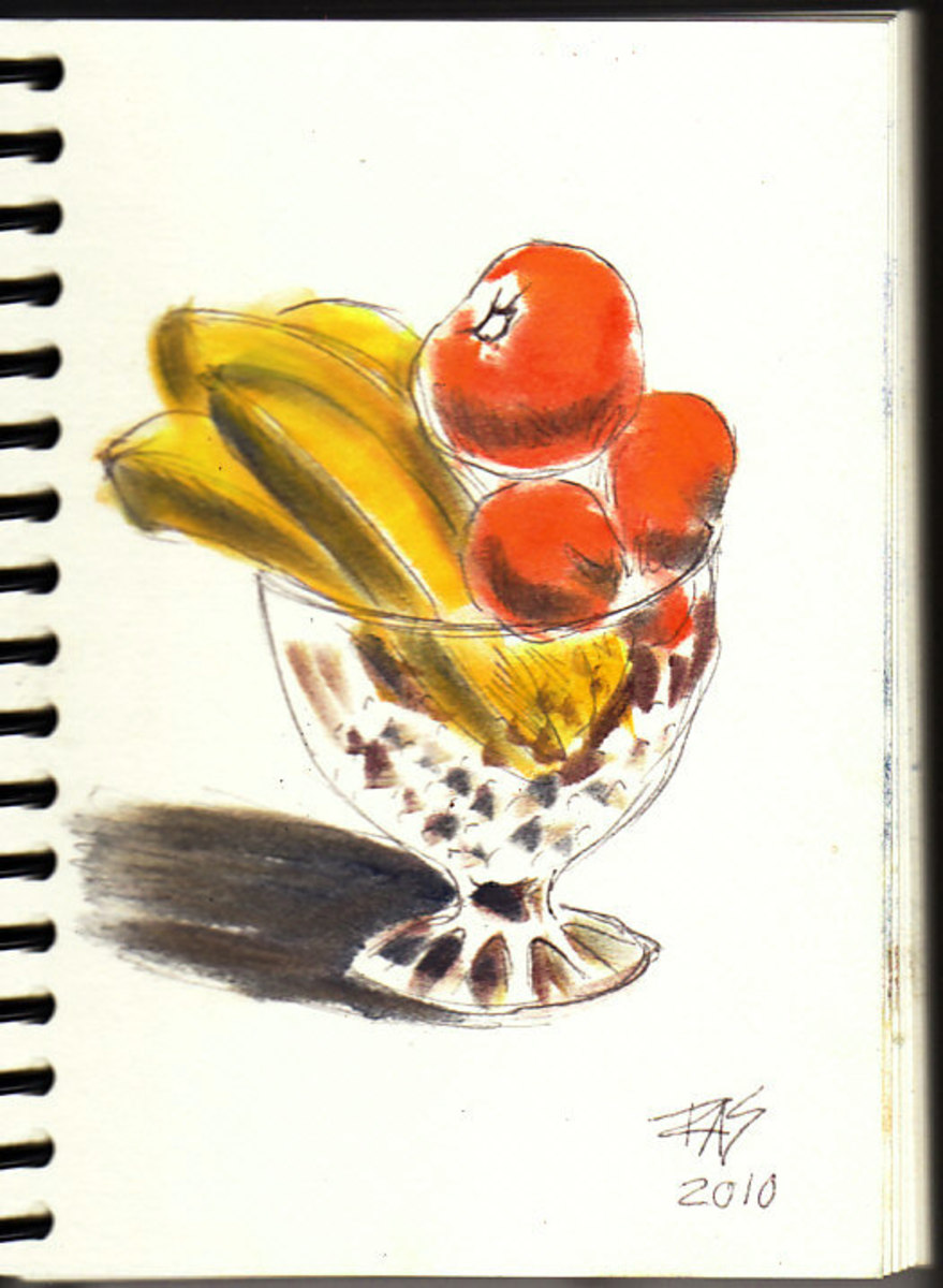 Fruit sketch in progress, stage two, some Pan Pastel color added.