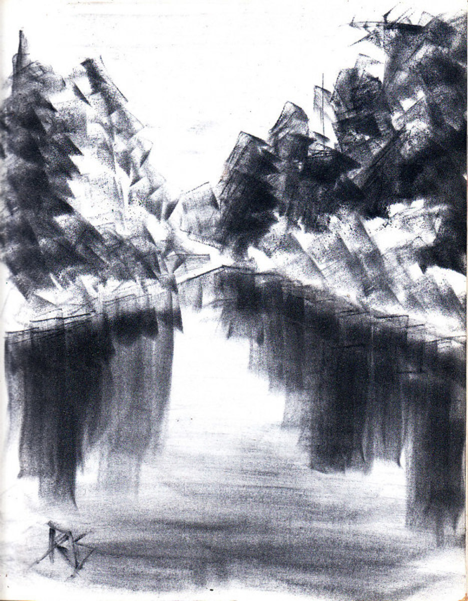 "Reflecting Lake Sketch, Pan Pastels Monochrome. Reflecting Lake by Robert A. Sloan, 8 1/2"" x 11"" monochrome Xtra Dark Ultramarine pan pastel on sketchbook paper."