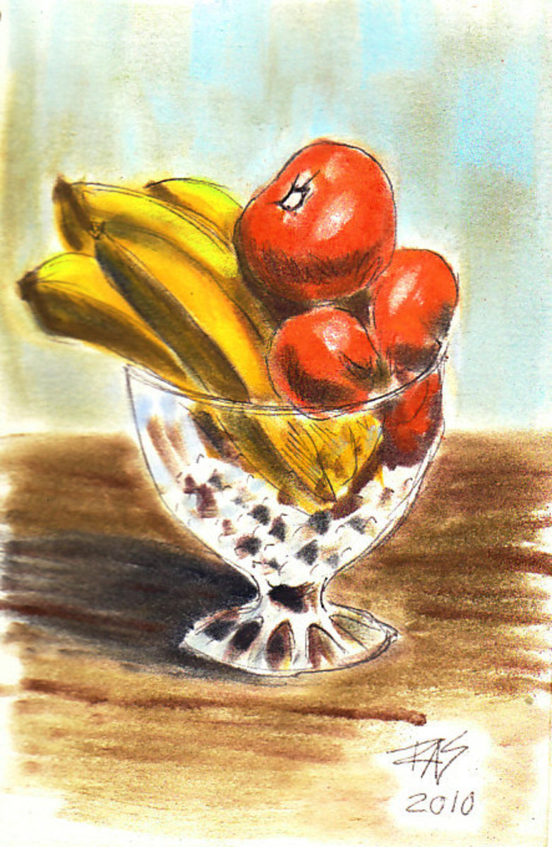 Fruit in Crystal Bowl sketch in pen and pan pastels by Robert A. Sloan.
