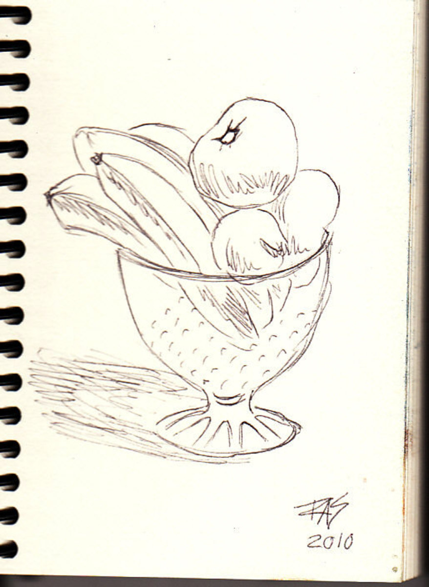 Fruit bowl by Robert A. Sloan, stage one, ballpoint pen sketch on Pentalic Nature Sketch off white heavy drawing paper.