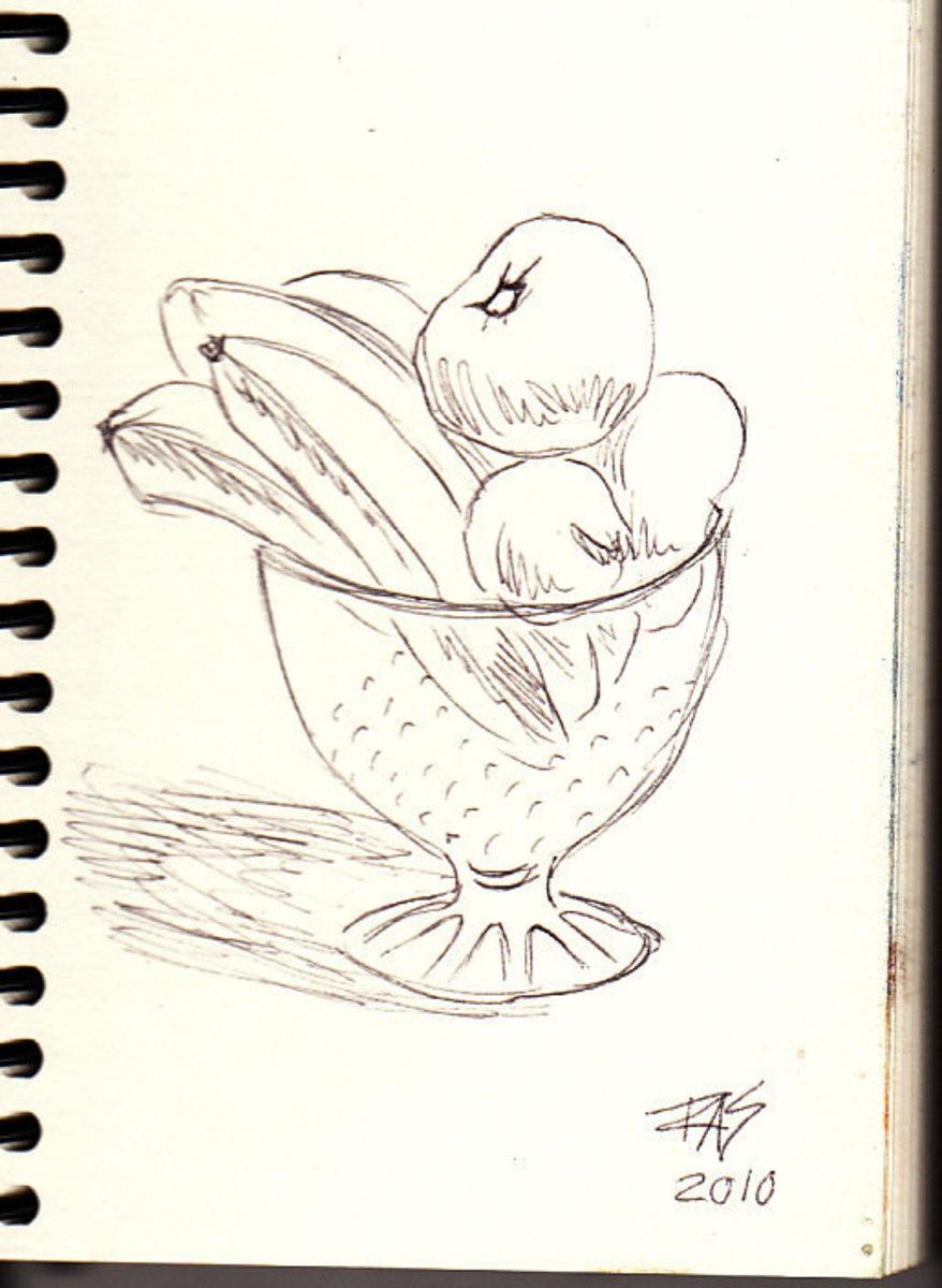Bowl of Fruit Drawing Fruit Bowl Drawing Easy