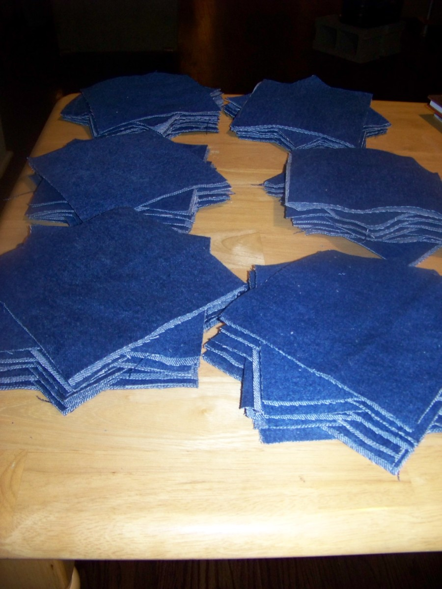 Cut Denim squares