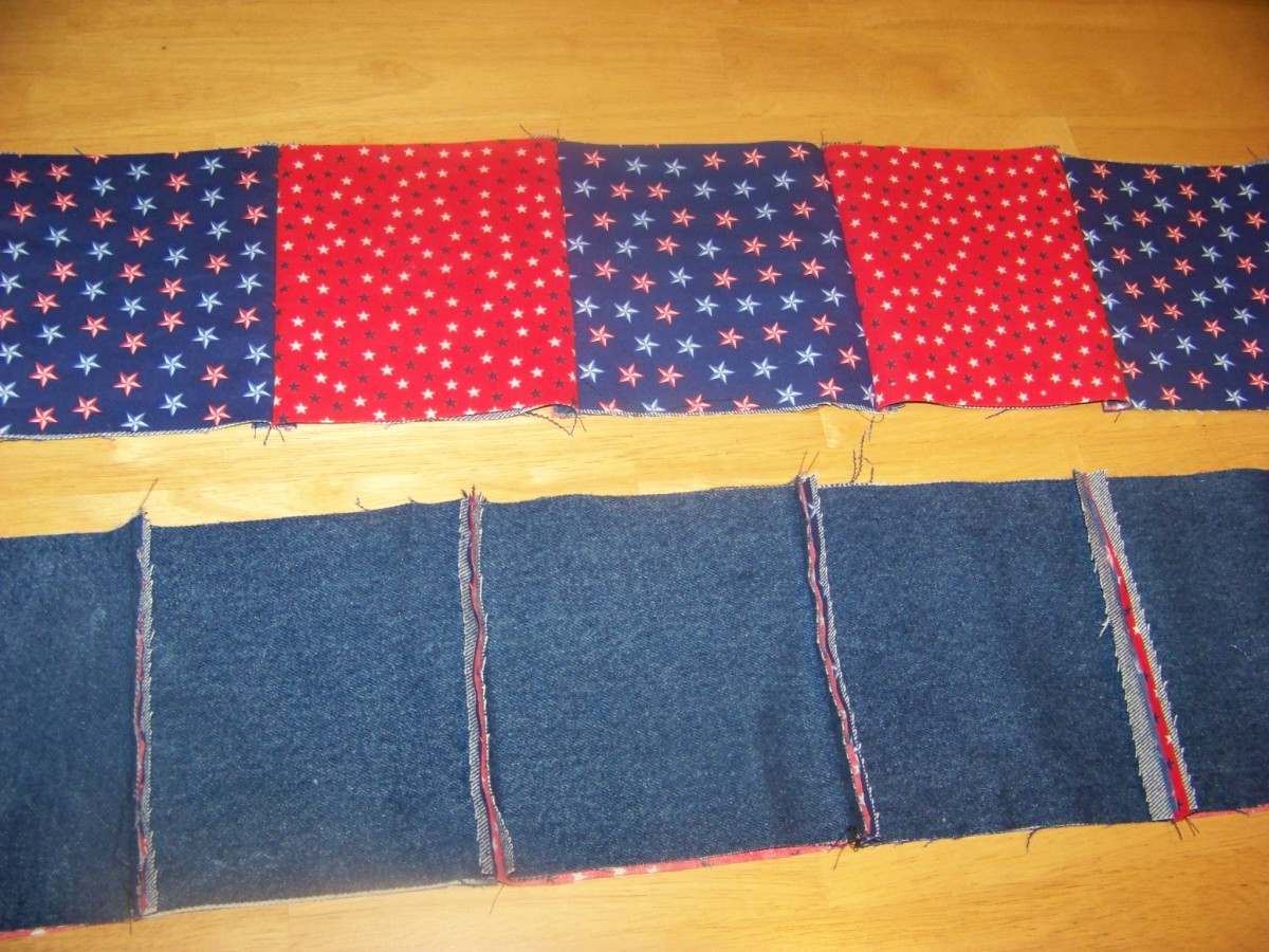 sewed rows with red and blue backing and denim showing seams.