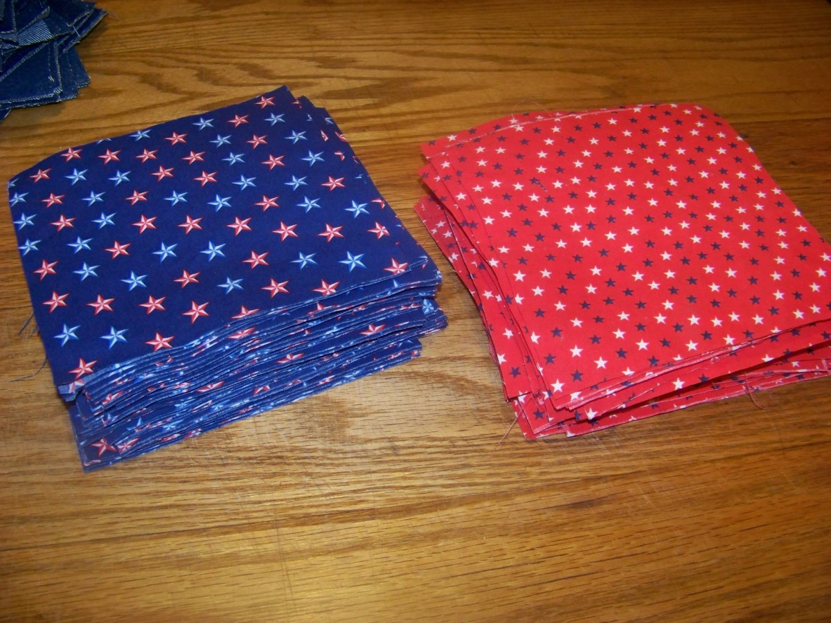 Cut blocks of blue and red material