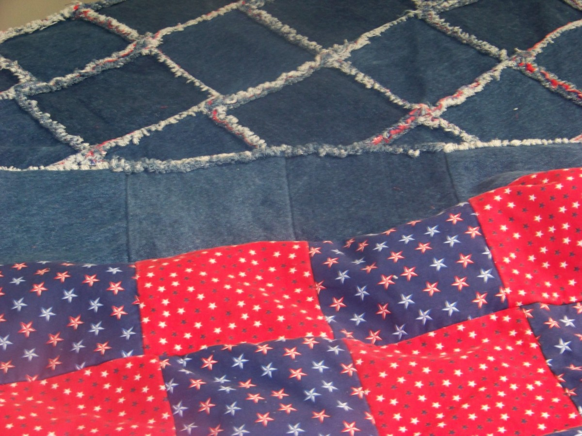 Finished Denim Rag Quilt Close-up of backing