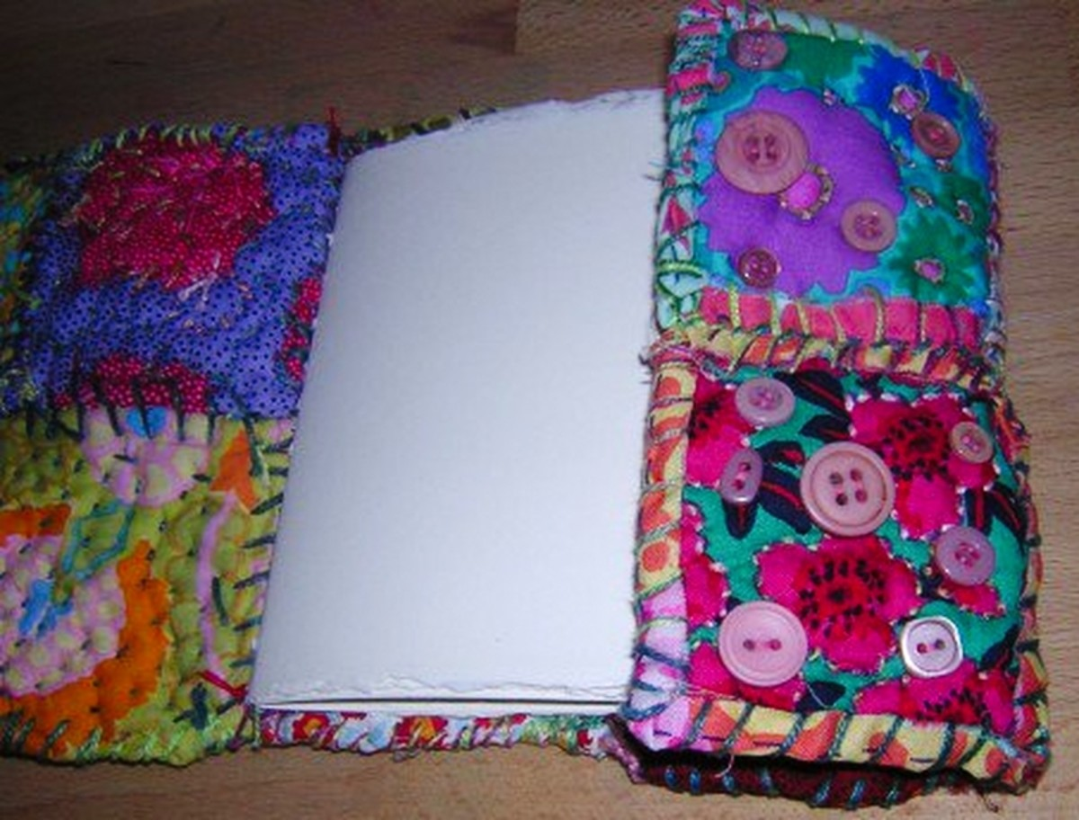 Completed fabric journal