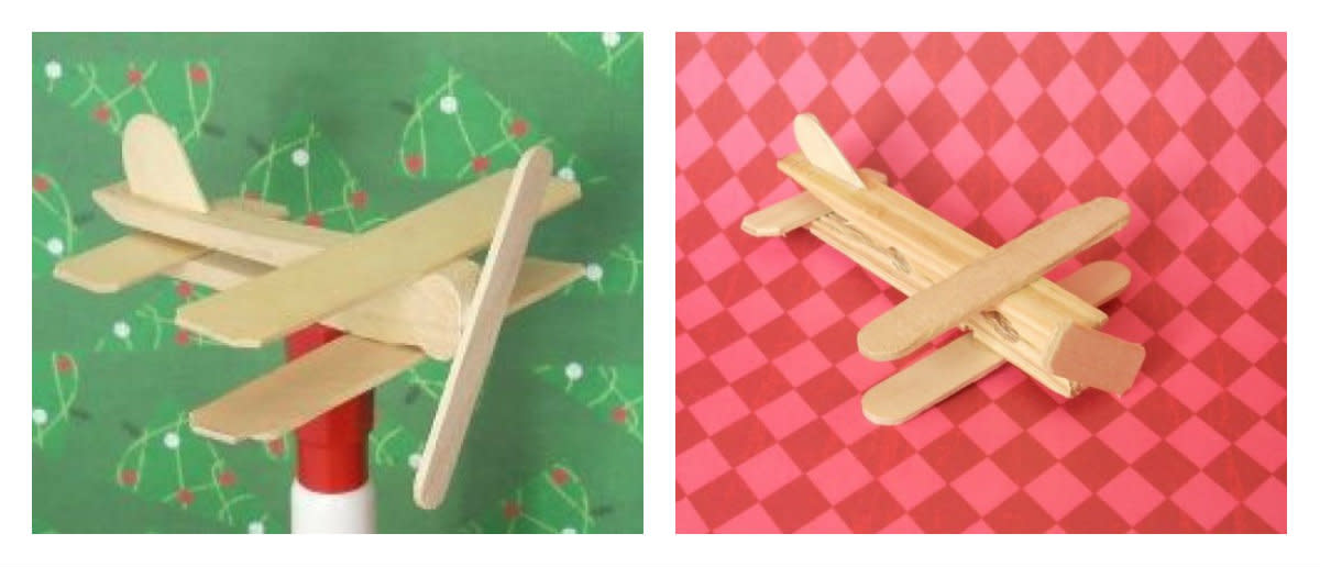 b.  Airplane made from flat clothespin. c.  Airplane made from spring clothespin.